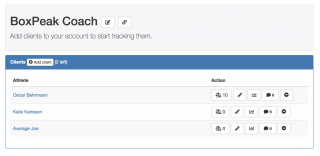 The dashboard with all your clients listed and options to change